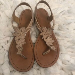 Tan Strappy Floral Sandals